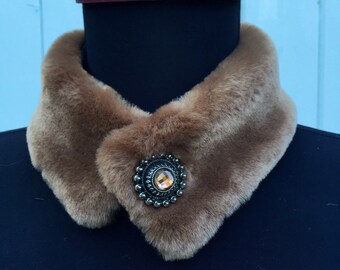 One of a kind Sheered Brown Beaver Faux Fur