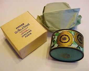Art Deco Vintage Sealed Poudre Un Peu D' Orient Rose Joncaire Paris Face Powder Box