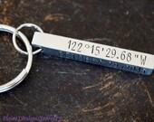 Custom 4 Sided Bar Keychain, Four Sided Bar Key Chain, Coordinates Key Chain