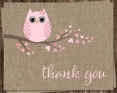 Owl, Thank You Cards, Burlap, Baby Shower, Shabby, Girls, Pink, Rustic, Country Chic, Birthday, 24 Folding Notes, FREE shipping, BAHPK
