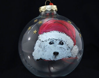 Hand Painted Ornament-Dog with Santa Hat on-Item 2003