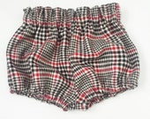 High Waisted Shorts -Baby Toddler Girls - Bloomers Shorties - Classic - Fall Winter- Red Black White Plaid Flannel - Mod Trendy - Christmas