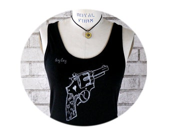 "Gun Women's Cotton Shirt, Revolver Black Tank Top, ""bang bang"" old west pistol, in black, Screenprinted  Shirt, Hand printed Summer Clothing"