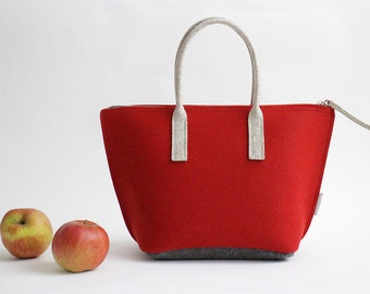 Red Lunch Bag with Water-resistant Inner Bag/ Felt Tote / Felt Handbag / Lunch Tote/ Adult Lunch Bag