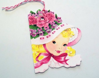 Flower Hat Tags - Set of  4 - Retro Girl Tags - Gift Tags - Thank Yous - Shaped Tags - Pink Hat Tags - Pretty  Girl Tags  - Vintage Style