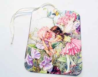 Garden Fairy Tags - Set of 3 - Flower Fairies - Pink And Purple -  Flower Tags - Nature Tags - Gift Tags - Thank Yous - Fantasy Tags