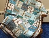 Baby Toddler Nap Quilt, Baby Boy or Girl Quilt, Handmade Baby Quilt Teal and Brown