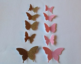 100 pc Paper Butterflies  Gold and Pink glitter  Wedding    Table Decorations     Shower