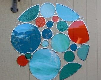 Stained Glass Round Panel with Circles-Handmade-Unique-Window Decor-Suncatcher-Glass Art-Birthday-Mothers Day-Anniversary-House Warming-Gift