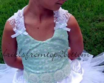 White and Mint Flower Girl Dress . Tutu Skirt . Halter Top w/ Lace straps . Sizes 12mo - 5T