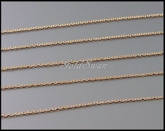 1 meter of shiny rose gold extra fine tiny link 1mm x 0.9mm chain, rose gold plated delicate brass chain B132-BRG