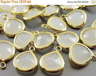 15% SALE 2 white opal 13mm glass teardrop pendants, colorful glass charms, glass beads 5064G-WO-13 (bright gold, white opal, 13mm, 2 pieces)