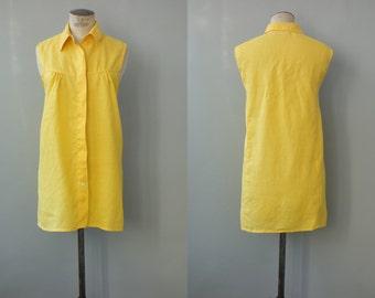 Sun dress   Ramie bright yellow shirt dress   1990's by cubevintage   medium to large