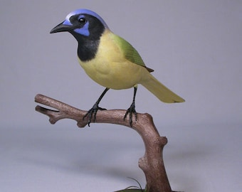 Green Jay Wooden Hand carved Bird Carving