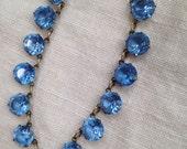 Art Deco Blue Crystal Bezel Necklace