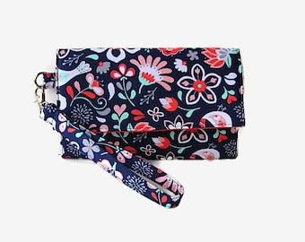 Cushioned Cell Phone Wristlet Wallet - Women's Trifold Wallet - Navy Blue Print Wristlet - Padded Phone Clutch - Detachable Strap