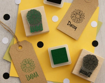Personalised Children's Daisy Flower Rubber Stamp - Personalized Rubber Stamp - Custom Stamper - Flower Gift - Floral Stamp - Gift for Girls