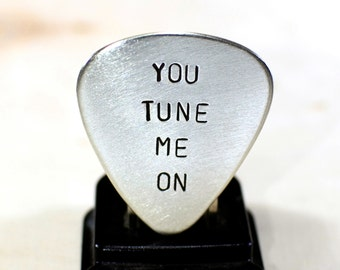 Guitar Pick with You Tune Me On Handmade in Sterling Silver - GP966