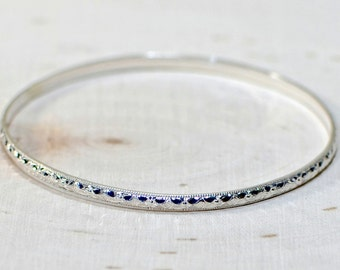 Sterling silver bangle with geometrical southwestern design - BNGL717