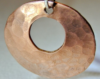 Hammered Copper Pendant Disc Handmade with Circular Window Cut Out - NL211