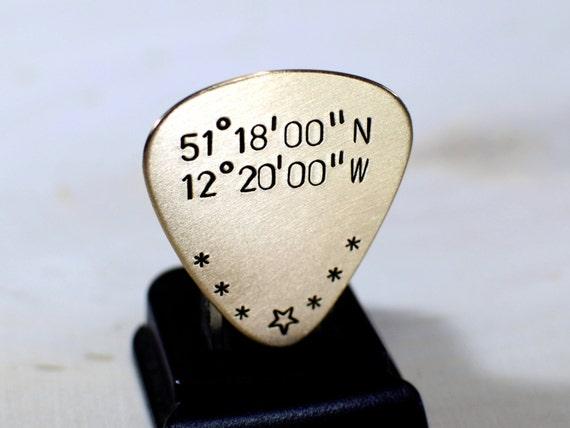 Bronze Guitar Pick with Personalized Latitude and Longitude Coordinates - GP559