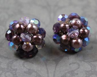 Vintage Vogue Purple Beaded Silver Cluster Clip On Earrings