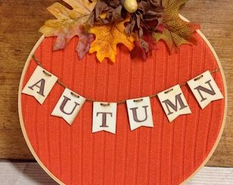 Pumpkin wall hanging door decor, embroidery hoop orange sweater pumpkin fall door decor Autumn decor