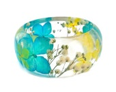 Size Medium Blue and Yellow Hydrangea and White Baby's Breath Resin Bangle Bracelet - Hydrangea Cuff  -  Resin Bracelet