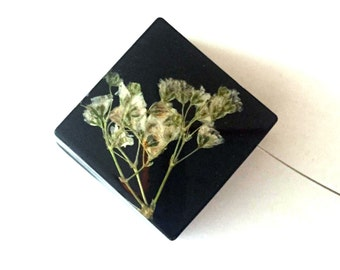 Limited Edition Sale! Baby's Breath set into Black Resin Cube.