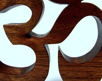 Yoga / Om or Aum Symbol / Shelf Sitter / Walnut Wood