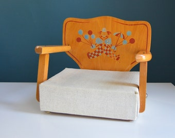 Vintage Child's Wooden Booster Chair with Clown Image