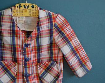 Vintage Toddler Boy's Plaid Seersucker Jacket- Size 2T
