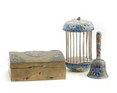 Valentines Lovers SALE Three Old Chinese Collectable CloisonnÈ Enamel Items Bell Box Cricket cage