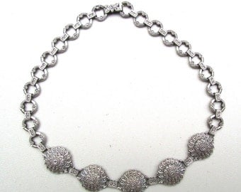 Beautiful RARE Art Deco Ornate  Sterling Silver Marcasite Chocker Vintage Necklace Art Deco Jewelry