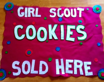Scout  Troop Cookie Booth Sales  banners- polka dotty- personalized