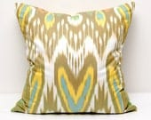 20x20 Brown wheat turquoise yellow ikat pillow cover, ikat pillows, ikats, ikat cushion,  brown pillows, yellow turquoise, ikat pillow
