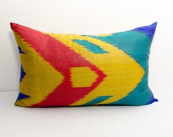20x12 blue red yellow ikat pillow cover, cushion case, ikat, yellow ikat pillow cover, decorative pillows, throw pillows, throw pillows