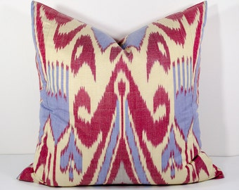 20x20 great patterns beautiful ikat pillow cover on sale, red and cream, accent pillow, throw pillow, cushion case
