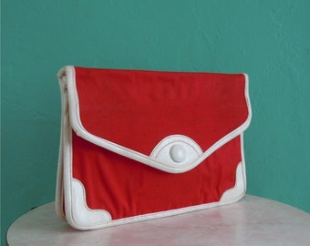 60's red canvas clutch handbag // red canvas handbag with removable strap