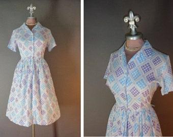 50s 60s dress 1950s 1960s vintage AQUA LAVENDER DOTS diamond print white shirt waist full skirt dress