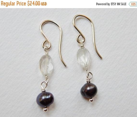 CLEARANCE SALE Aquamarine and Dark Peacock Pearl Earrings - Sterling SIlver Beaded Dangle Earrings Drop Earrings Beadwork Earrings