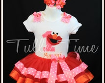 SALE Ribbon trim 1st Elmo pink orange birthday onesie tutu dress size 6-12m 12m 18m 24m