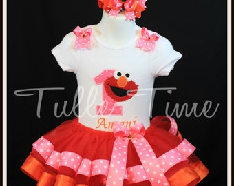 SALE Ribbon trim 1st Elmo pink orange birthday tutu dress size 6-12m 12m 18m 24m