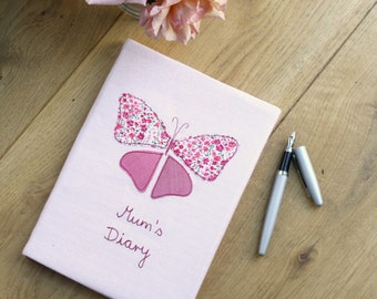 Personalised 2016 Diary with Butterfly Applique on Irish Linen - Pink