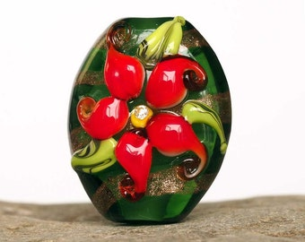 Green Floral Focal Lampwork Glass Bead