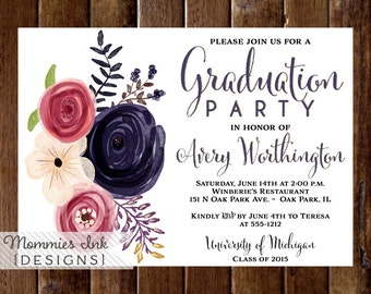 Floral Graduation Party Invitation, Watercolor Floral Invitation, Pink and Purple Floral Invite, Class of 2016, Open House Invitation