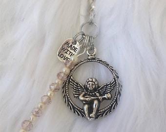Angel jewellery /zipper pull/ ukulele guitar charm /personalized initial letter/ swarovski white pearl beads/ RTS Item # CJF22-1041