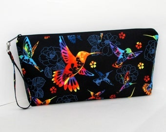 Hummingbird Large Zipper Pouch, Black Knitting Zippered Project Bag, Wedge Bag