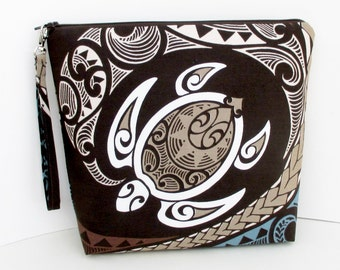 Project Bag, Tall Zippered Pouch, Hawaiian Honu Sea Turtles, Tapa Tropical Brown Cosmetic Bag