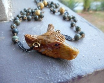 Wolf In Sheep's Clothing XXV. Carved Yellow Opal Wolf Head Pendant Green Russian Serpentine Rosary Necklace Occult Goth Edgy ooak handmade
